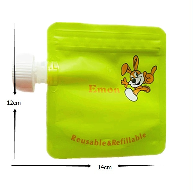 2/4/8pcs/lot Baby Reusable Food Pouches Cartoon Food Pouch Bag Easy Clean Double Zipper Baby Organizer Insulation Food Storage