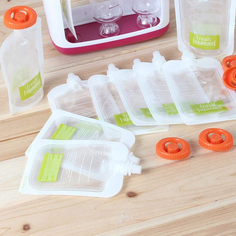Newborn Baby Food Containers Storage Baby Feeding Maker Supplies Baby Food Fruit Juice Maker with 10 Pouches Bags