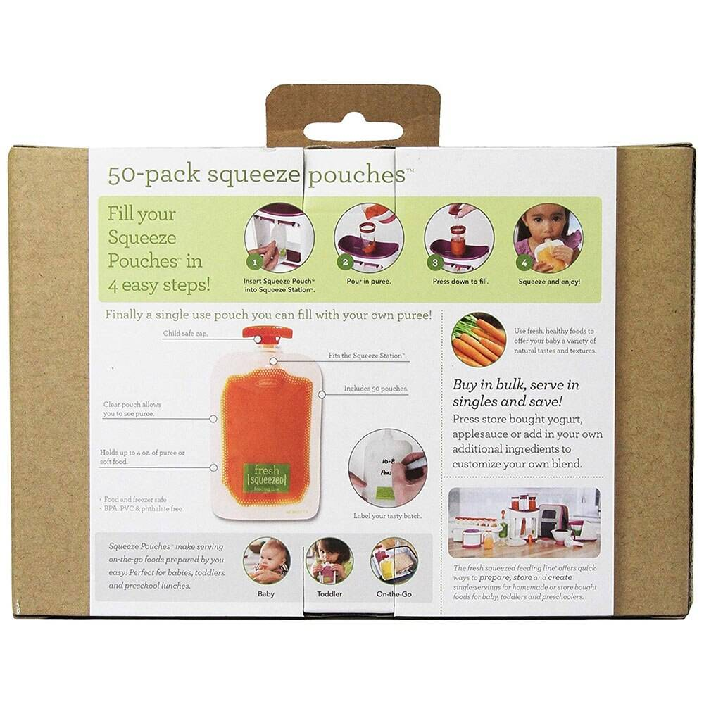 Single Use Food Pouch Packaging Squeeze Plastic Smoothie Squeeze Bags Refillable Fresh Storage Bag Lid Baby food storage box
