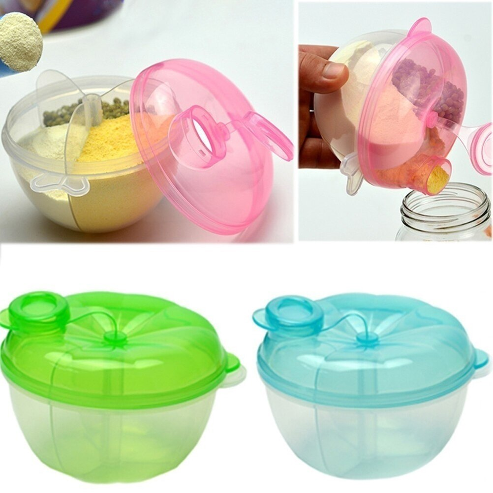 Portable Baby Infant Feeding 3 Rotating Grids Milk Powder Box Baby Food Storage Container Practical Box Toddler Travel Bottle#40