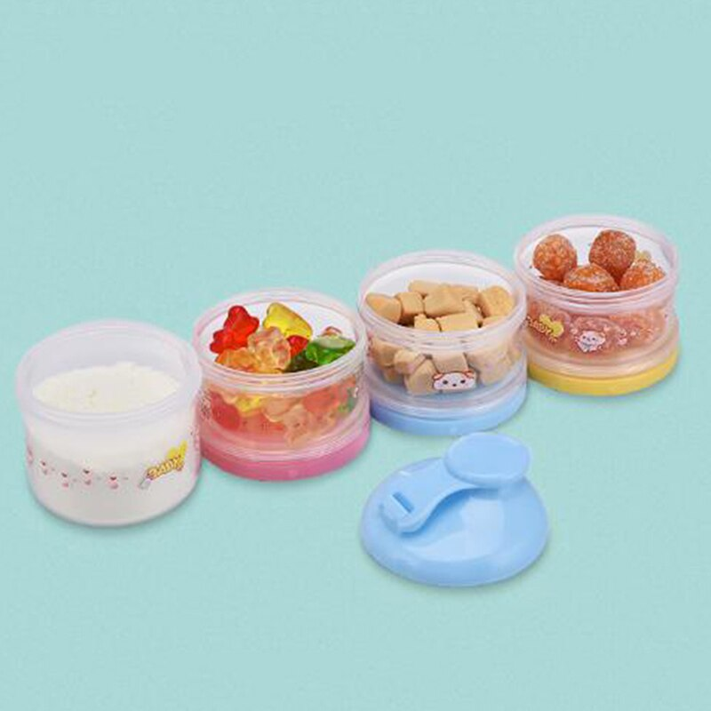 4 Layer Portable Baby Food Storage Box Essential Cereal Cartoon Milk Powder Boxes Toddle Kids Formula Milk Container
