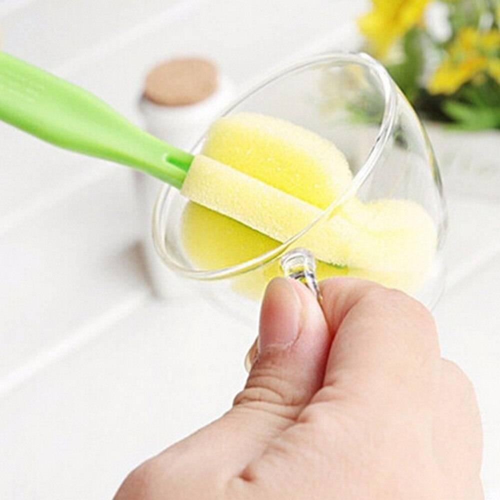 1Set new  360 Degree Rotating Spin Sponge Brush Baby Kids Children Milk Feeding Bottle Nipple Cleaning Scrubber Brushes