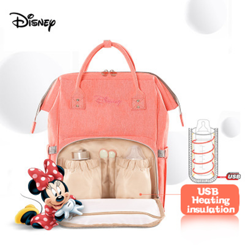 Disney Bottle Feeding Insulation Bags USB Oxford Cloth Diaper Storage Bag Backpack Waterproof Handbag Large Capacity Diaper Bags