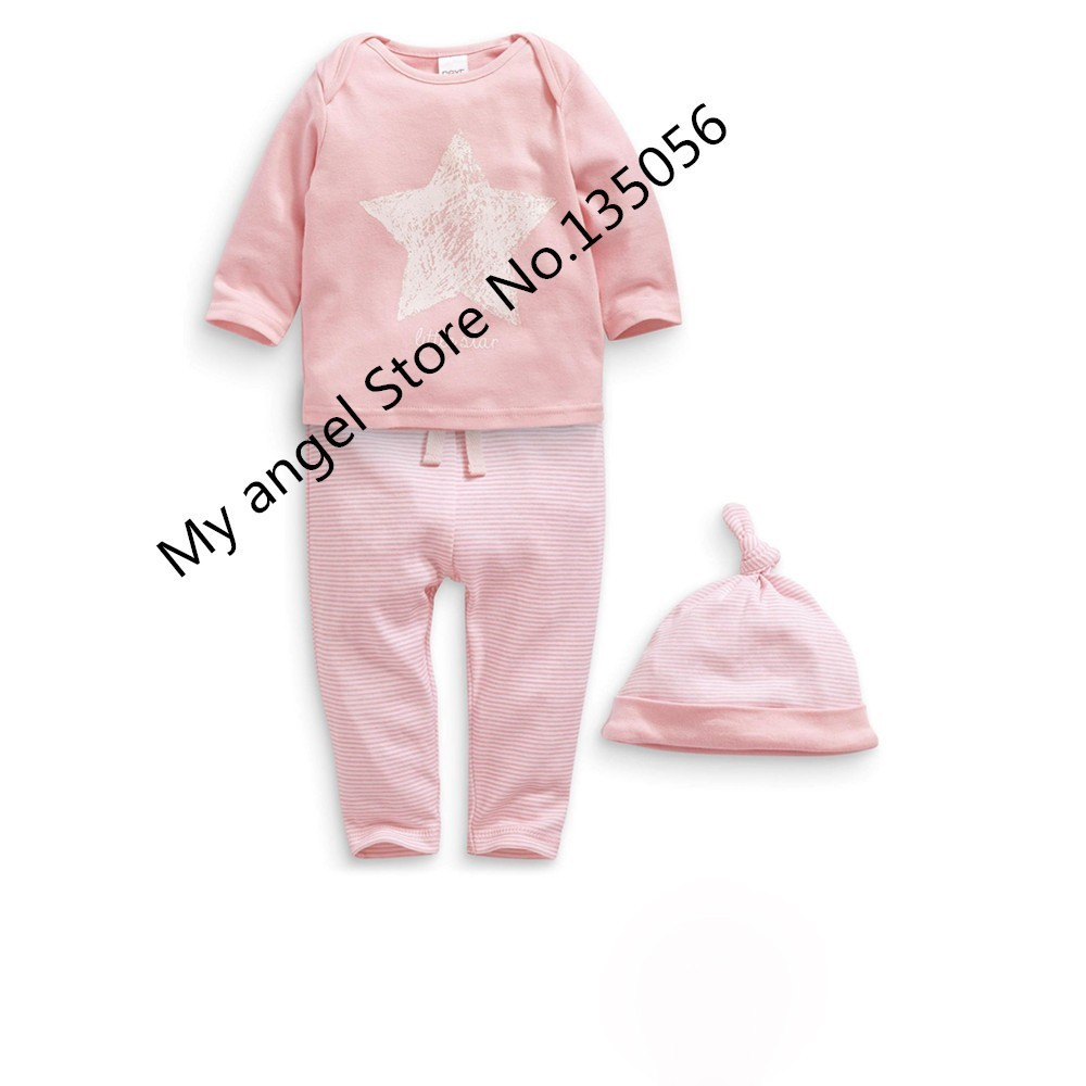 Retail 2020 New Spring and autumn baby boy clothes 100%cotton 3pcs (Hat + T-shirt, pants) The stars leisure baby boys clothes