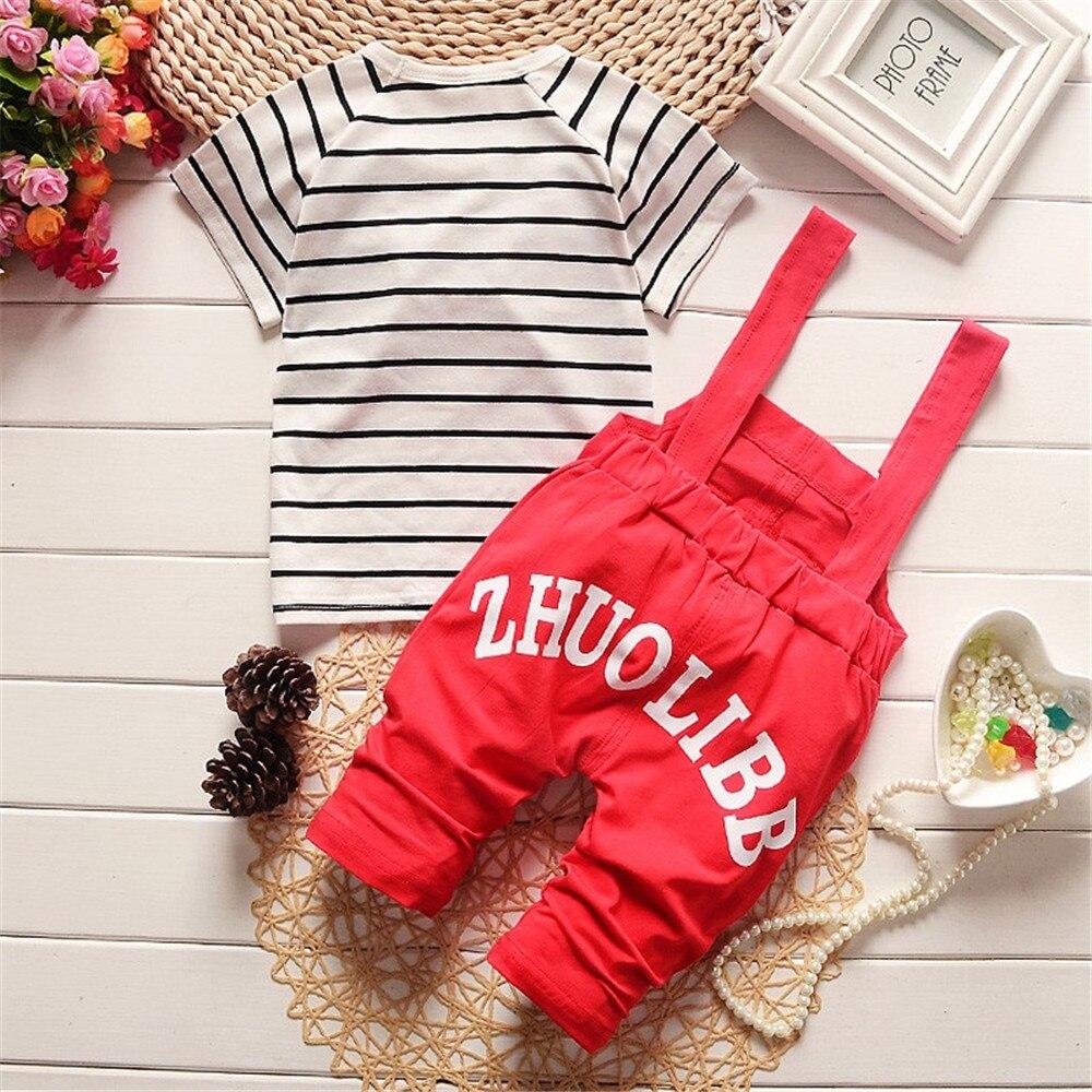 2020 summer children clothing baby boys clothing sets panda cartoon cute clothes kids bib short sleeve t shirt+Strap shorts