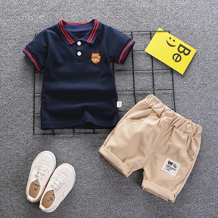 2020 boys clothing set baby summer panda cartoon children leisure bib clothes sets for kids suit Striped shirt braces pants