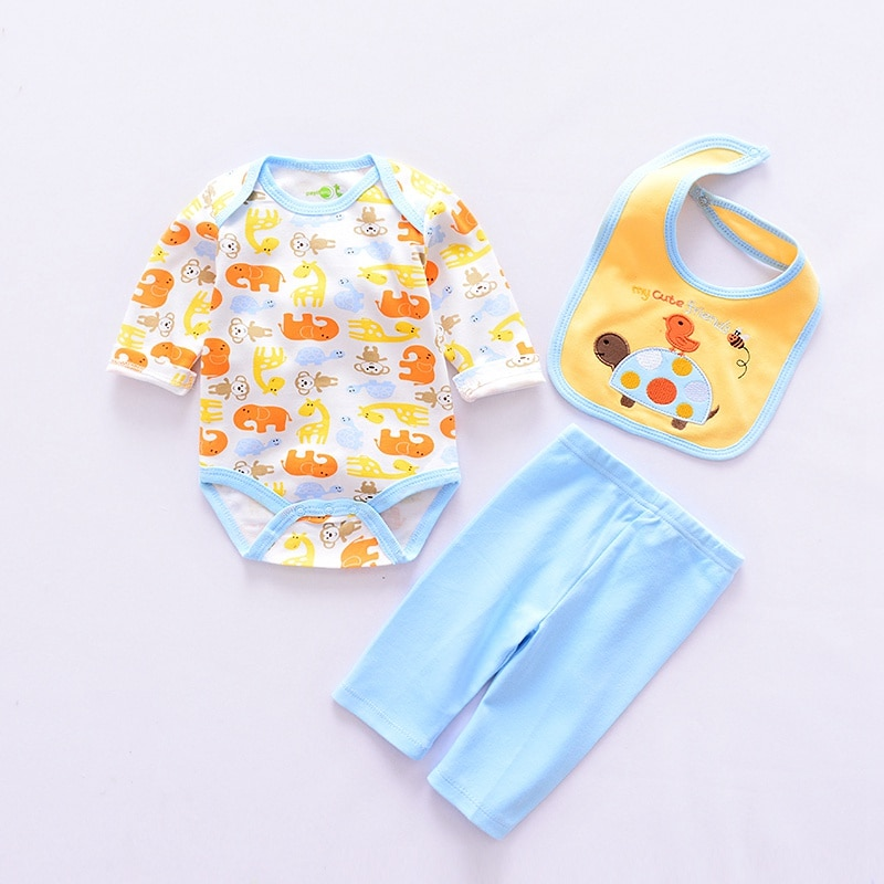 2020 animal style baby Clothing Sets cotton Infant boy clothes Newborn girl 4pcs suit long sleeve infant rompers+pants+socks+Bib