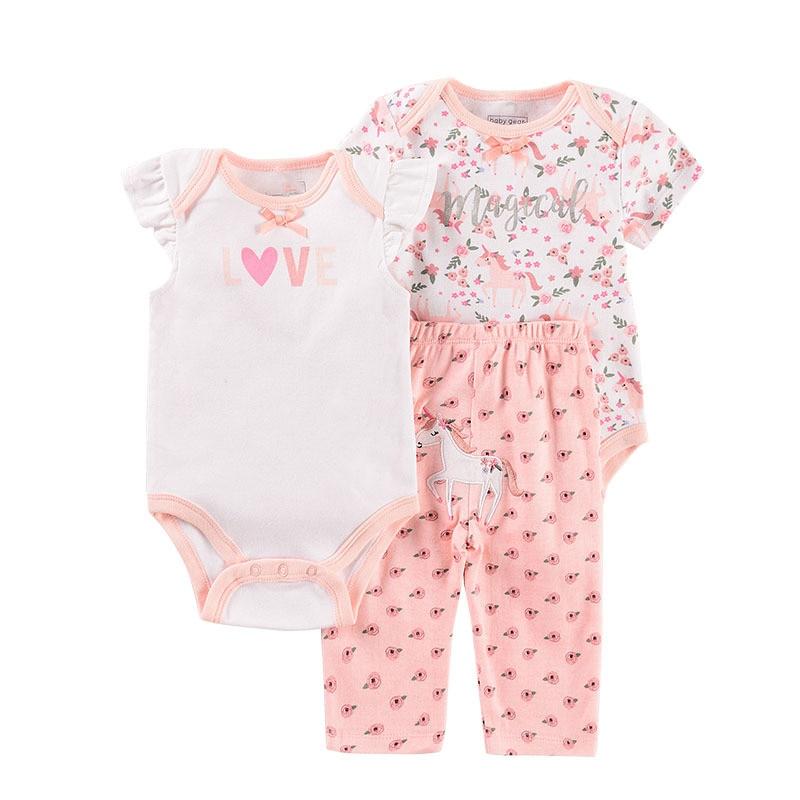 2020 Cartoon Lion Baby Clothing Sets cat  boy clothes Newborn girls suit 3pcs short sleeve infant rompers  +pants Leopard print