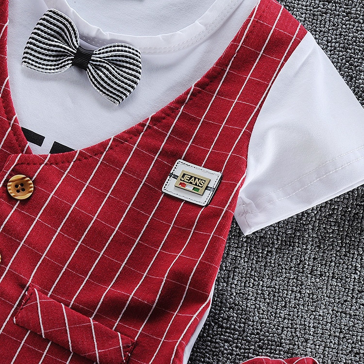 2020 Summer Children Baby Boys Cotton Clothes Infant Outfits Kid Gentleman Bowknot Tie T-Shirt 2pcs/Set Toddler Fashion Clothing