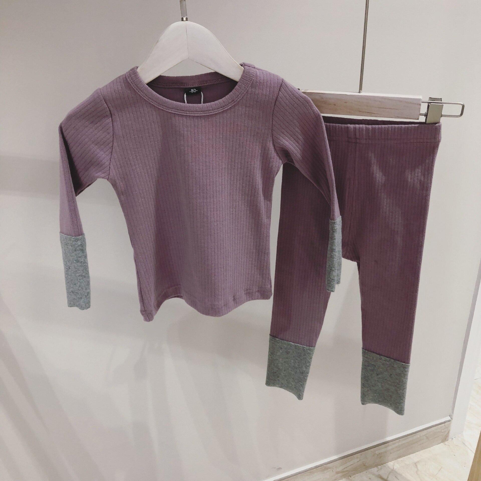 2020 Spring Kids Tracksuit Children Ribbed Pajamas Set Baby Boys Girls Cotton Homewear T-shirt + Pants Sets Toddler Girl Clothes