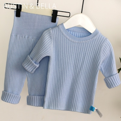 2020 Spring New 6M-4T Winter Baby Girl Clothes Set Knitted Boys Set Sweaters+pants 2pcs Kids Clothing Girls Cotton Knitted Suits