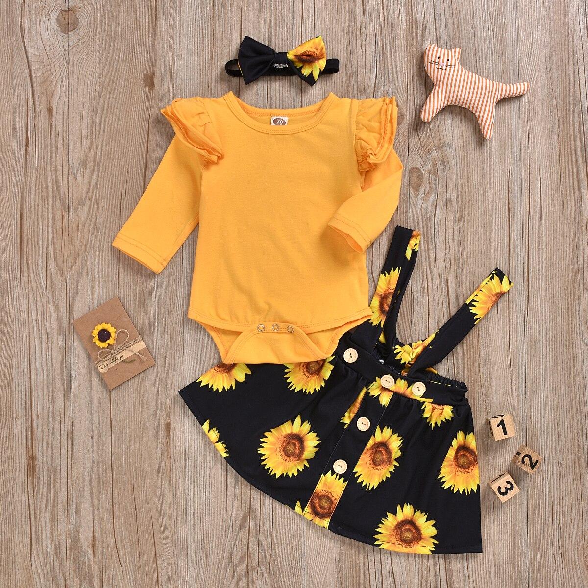 2020 Princess Girl Toddler Baby Girls Clothes  Yellow Sunflower Sunsuit Floral Spring Dress Sundress Clothes Set