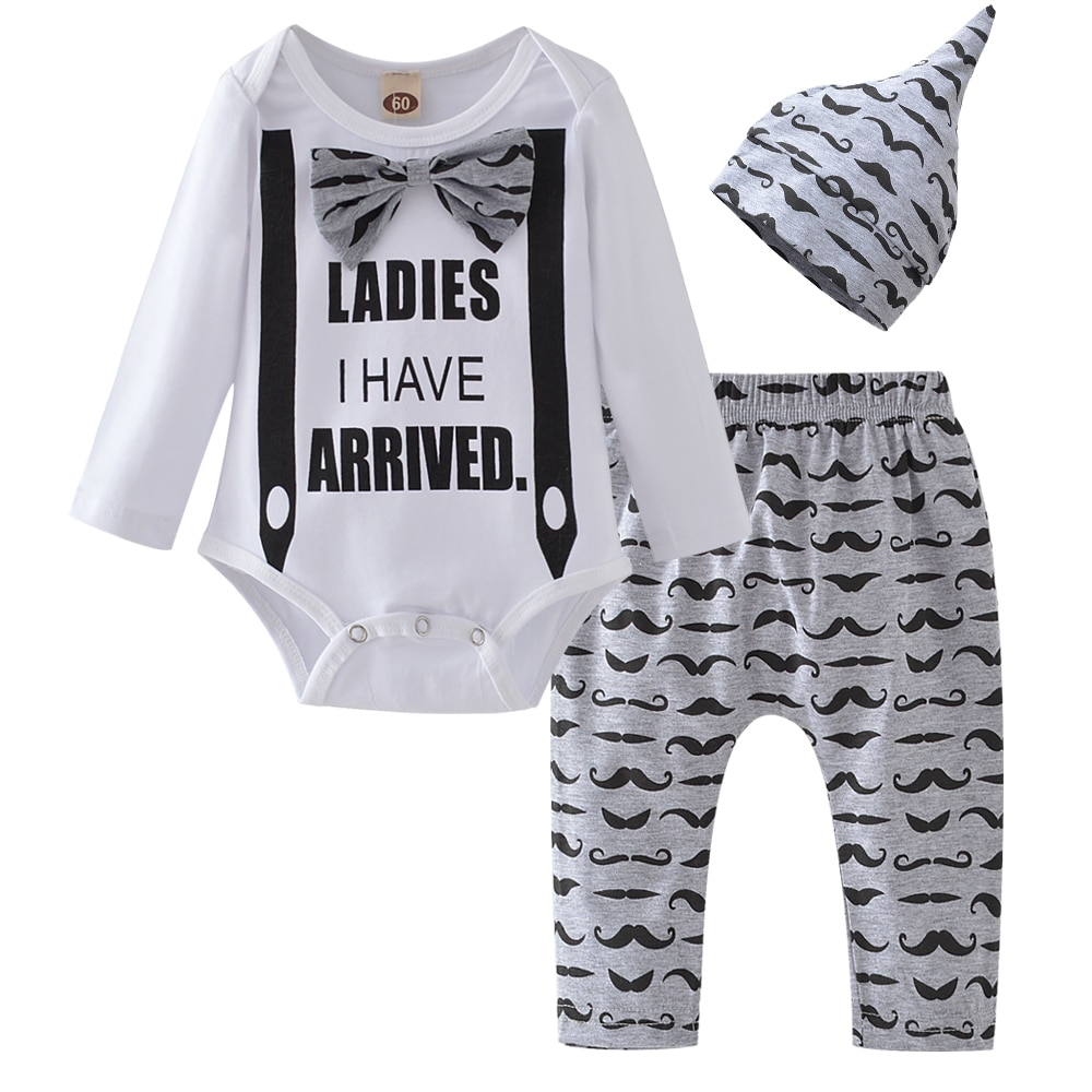Baby Boy Clothes 2020 Autumn Baby Girl Clothing Sets Newborn Cotton Printed Long Sleeved T-shirt+pants+cap Kids 3pcs Suit