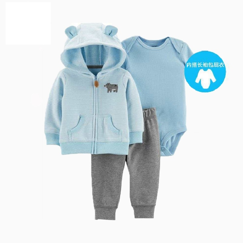 baby girl clothes cartoon 2020 autumn newborn boy outfit long sleeve sets hooded jacket unicorn+romper+pants winter clothing