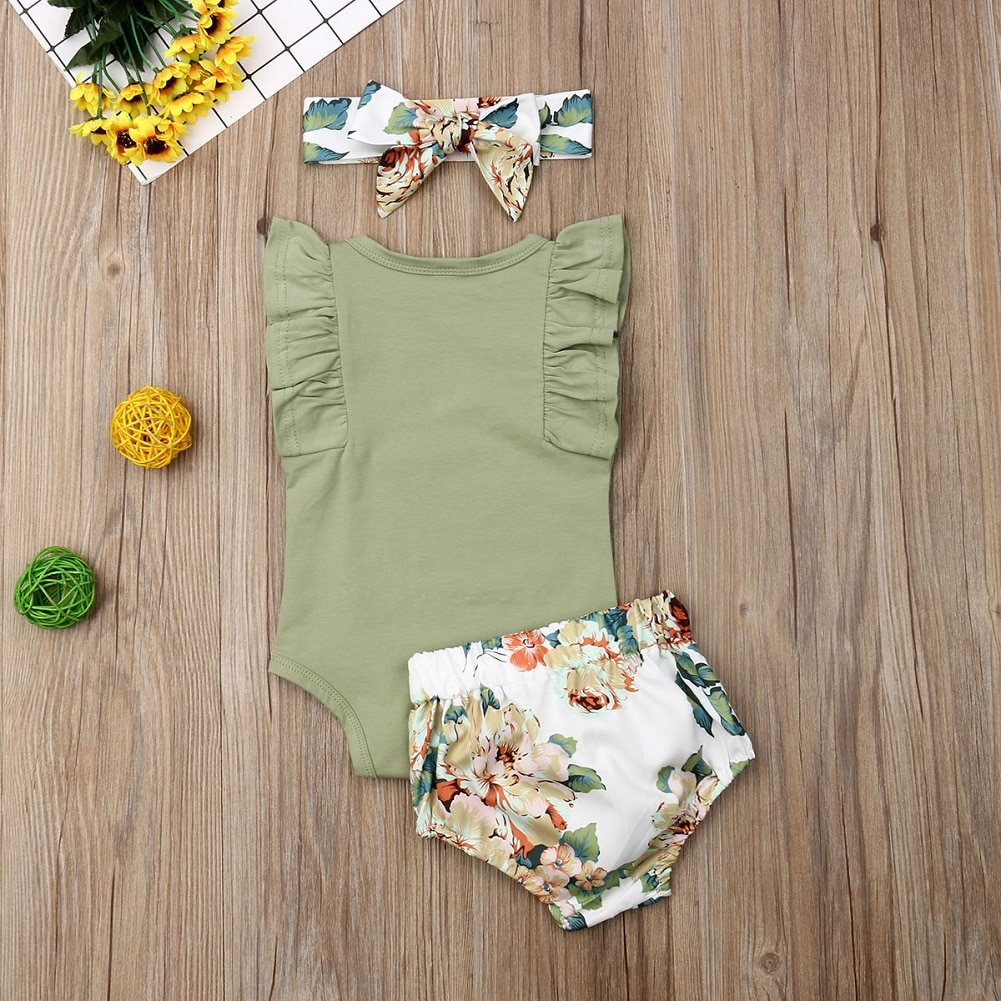 Brand 2020 New Year Gift Toddler Kids Baby Girl Infant Clothes Romper Tops Flower Print Pants Headband Bodysuit Outfits 3Pcs Set