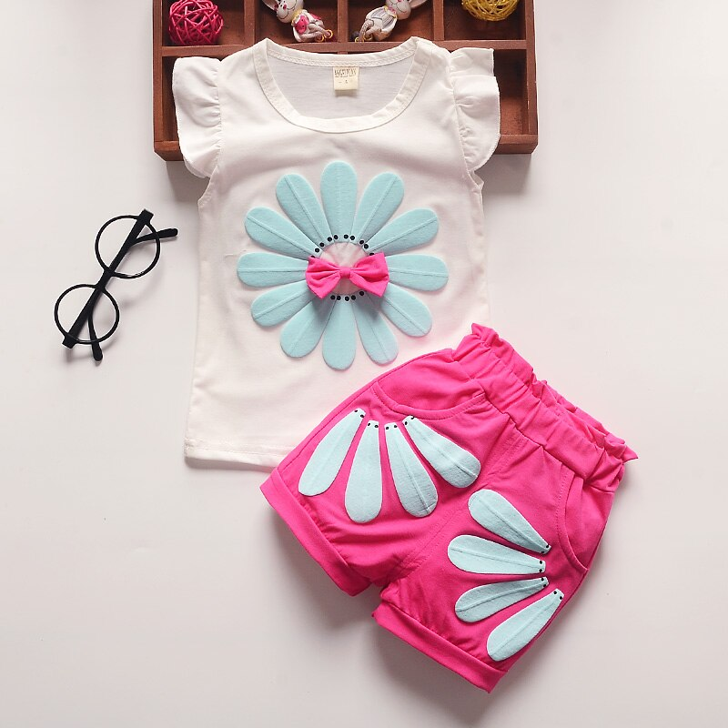 BibiCola baby girl clothes 2020 summer baby clothing sets fashion sunflowers vest+pants 2pcs outfits toddler kids sweatshirt set