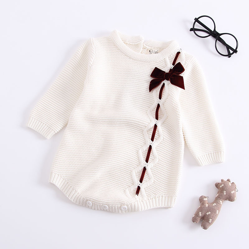 Sodawn 2020 Autumn Winter New Children Clothes Baby Girls Clothes Knit Clothes Bows Jumpsuit Long-Sleeved Romper  Baby Clothes