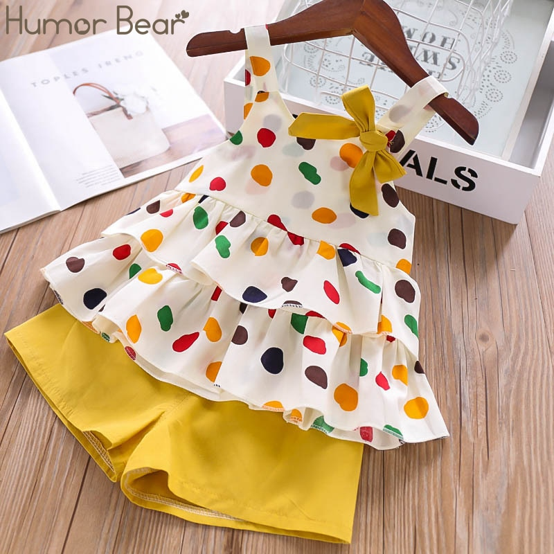 Humor Bear Baby Girls Clothes Suit 2020 Brand NEW Summer Toddler Girl Clothes Dot Bow Vest T-shirt Tops+Shorts Pants 2Pcs Set