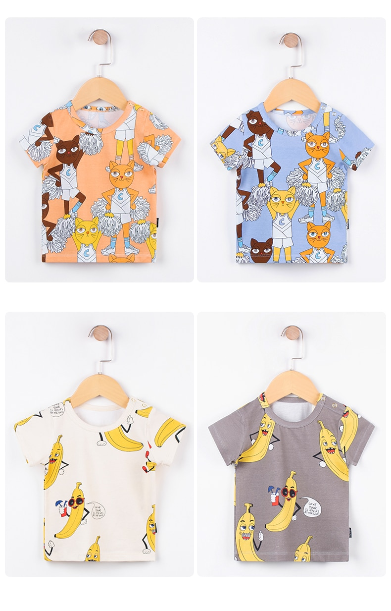 TinyPeople 2020 new fashion baby t-shirt Boys summer clothes Cotton cartoon print Girls cute short sleeve coat kid clothes gift