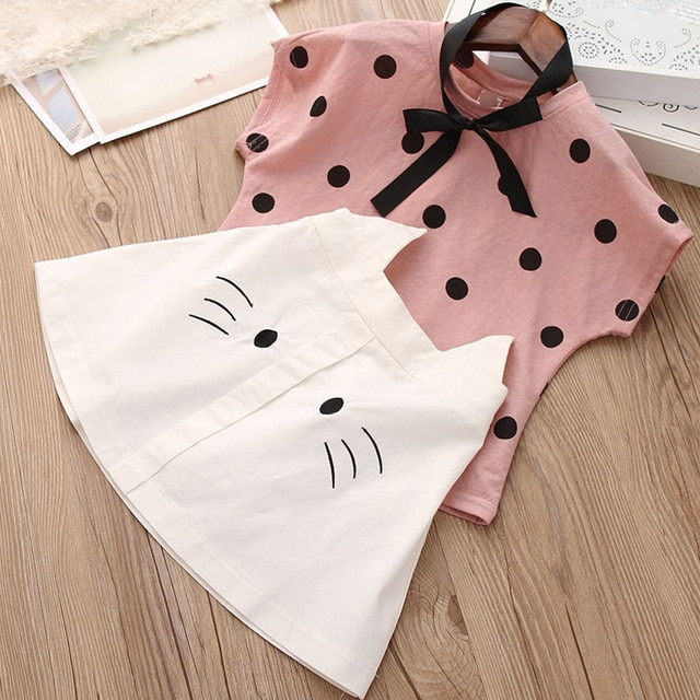 Sodawn 2020 Fashion Girls Clothing Set Summer Baby Girls Clothes Outfit Fashion T-shirt and Ruches Skirt 2pcs Children Clothing