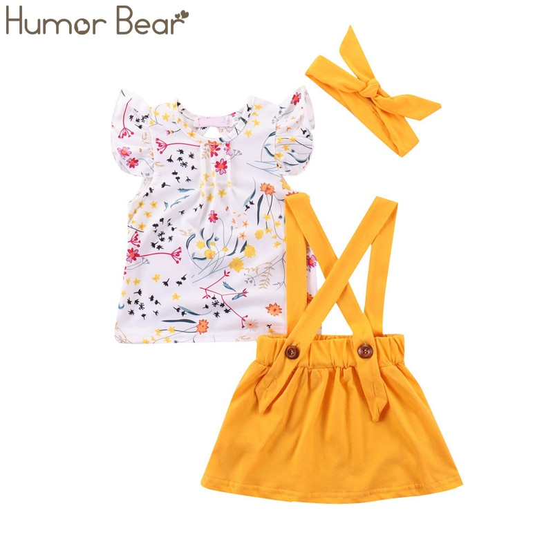 Humor Bear Girls Clothing Set fashion 2020 summer new style mesh butterfly T-shirt +Shorts Kids Suits bodysuit baby girl clothes