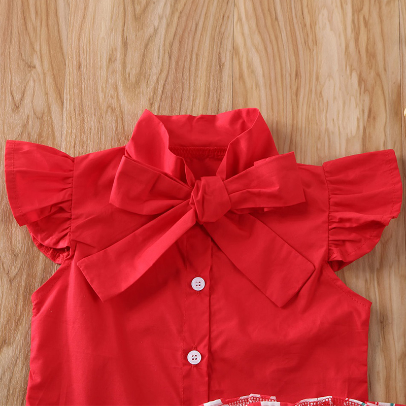 2020 Baby Summer Clothing 1-6T Toddler Kid Baby Girl Solid Red Shirt Top Watermelon Short Pants Outfit Clothes 2Pcs Set Sunsuit