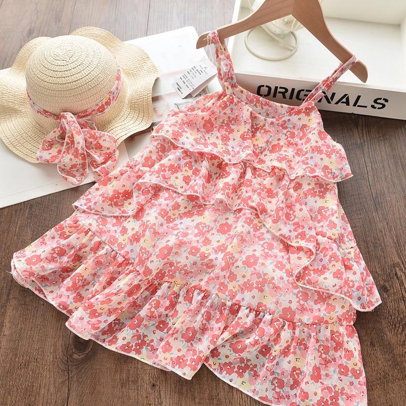 Bear Leader Girls Dress 2020 New Summer Mesh Girls Clothes Pink Applique Princess Dress Children Summer Clothes Baby Girls Dress