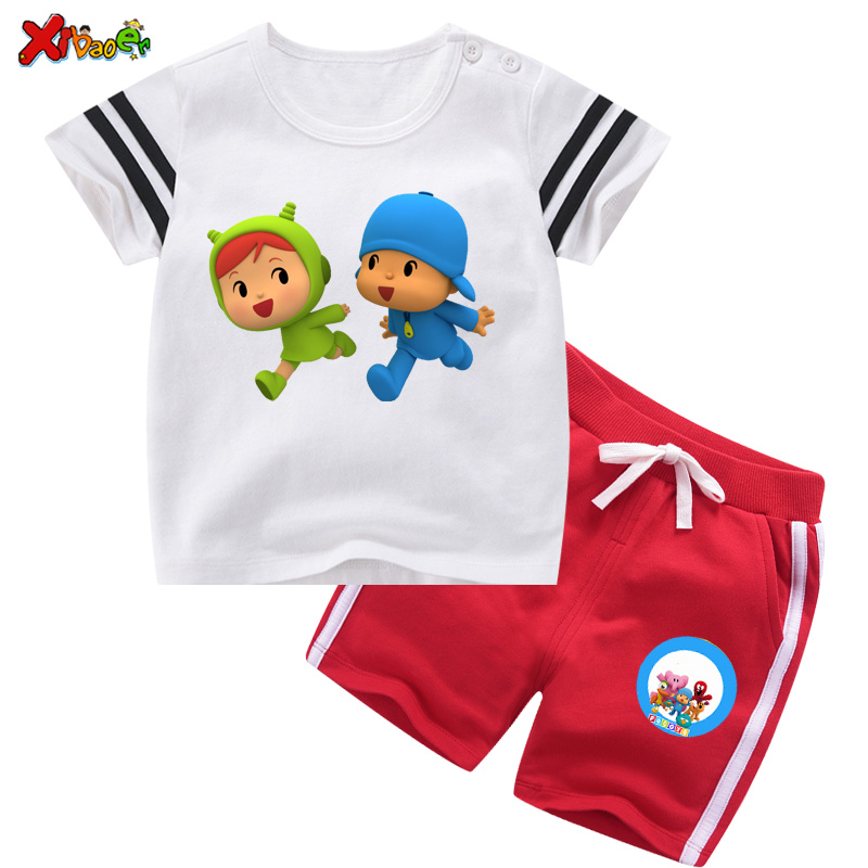 tollder baby set Kids Girl Clothes Sportswear 2020 Summer Baby Boy Set 2Pc Children Outfit Toddler Tracksuti Pocoyo TShirts Cute