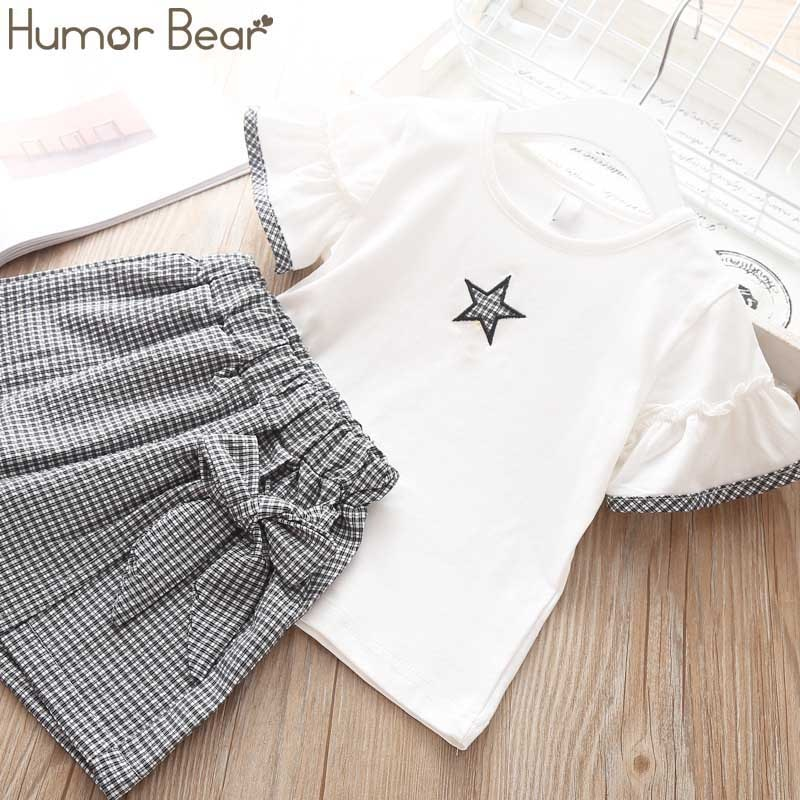 Humor Bear Baby Girl Clothes Suit 2020 Brand NEW Summer Star Printing Toddler girl clothes T-shirt Tops+Waistband Pantskirt 2-6Y