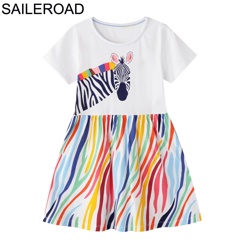 SAILEROAD Dress 2020 Summer Girls Tops Dresses Animal Baby Girls Clothes Dress Kids Cotton Zebra Print Short Sleeve Dress