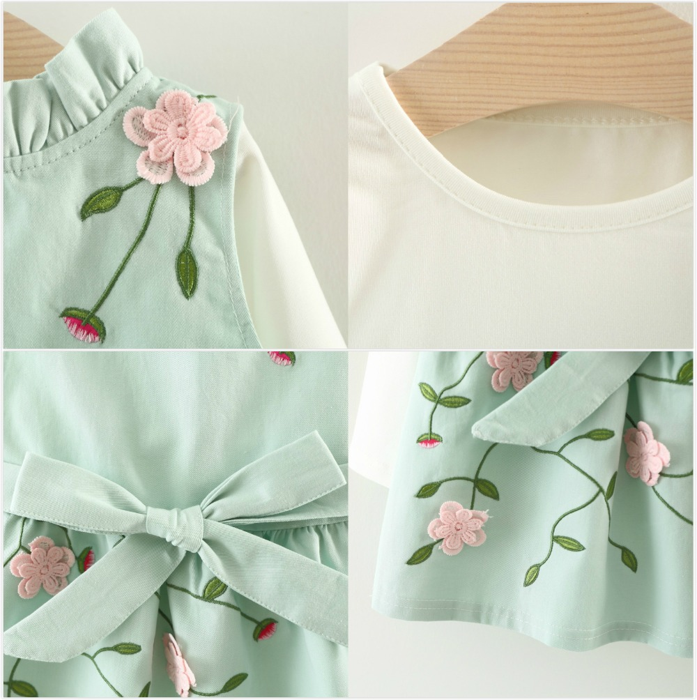 2020 Baby Girls Dress Autumn Long Sleeve Princess Dress for Girl Kids Clothes Embroidery Newborn Baby Dress Spring 6M 12M 24M