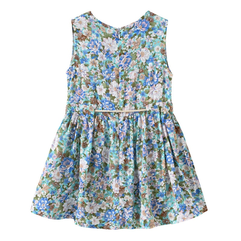 2020 Children Little Girls Dress Kids Baby Girl Floral Printed Casual A-line Princess Dress Girl Clothes With Sunhat DC250