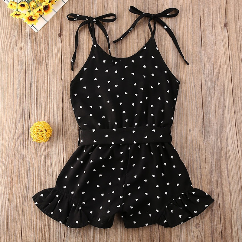 Humor Bear 2020 Toddler Baby Girl Clothes Summer Love Peach Heart Print Strap Romper Jumpsuit One-Piece Outfit Cotton Clothes