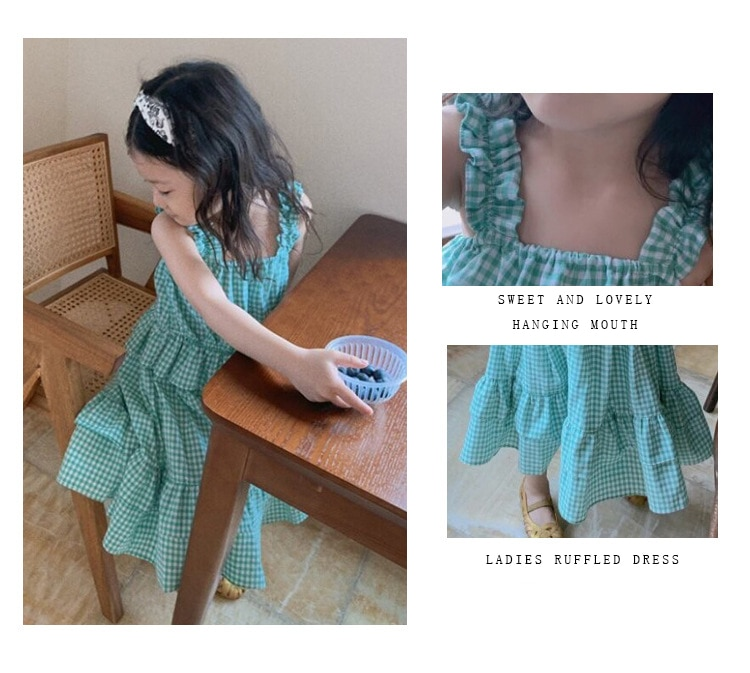Baby Girl Summer Clothes 2020 Korean Boutique Dress Strap Plaid Style Ruffle Sweet Cute Princess Dress Best Birthday Gift