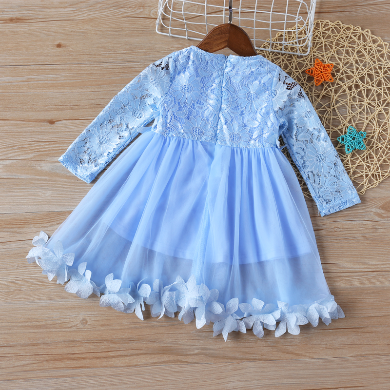 Sodawn 2020 Spring New Children Clohting Brand Neck Lace Bow Design Lace Fashion Princess Dress Baby Girls Dress Girls Clothes