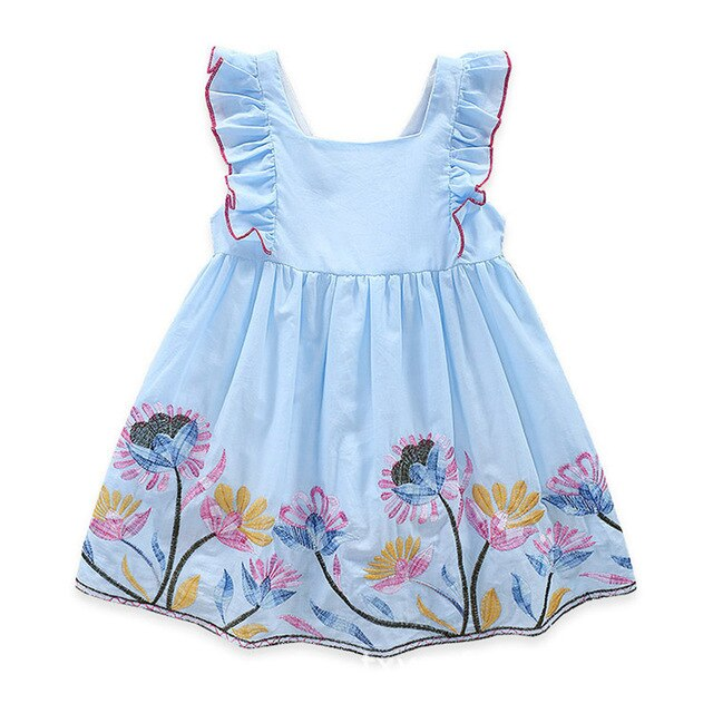 Humor Bear Baby Girls Dresses 2020 New Summer Embroidered Sweet Flower Back Bow Princess Dress Children's Clothes Party Dress