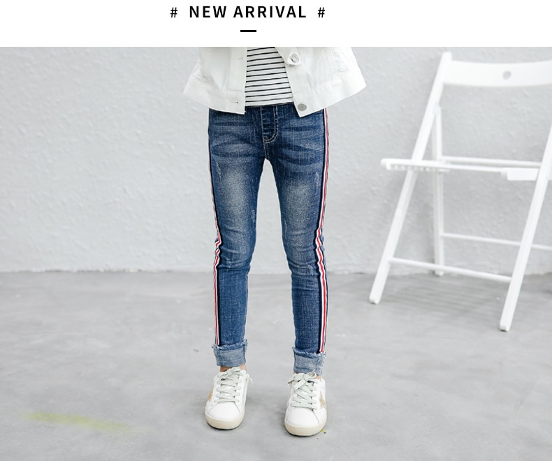 Girls jeans leggings new 2020 spring kids clothes gradient ultra big girls elastic skinny pants children trousers 3 to 14 years