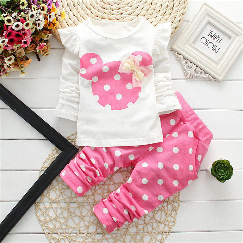 2020 New Kids Clothes Girl Baby Long Rabbit Sleeve Cotton Minnie Casual Suits Baby Clothing Retail Children Suits Free Shipping