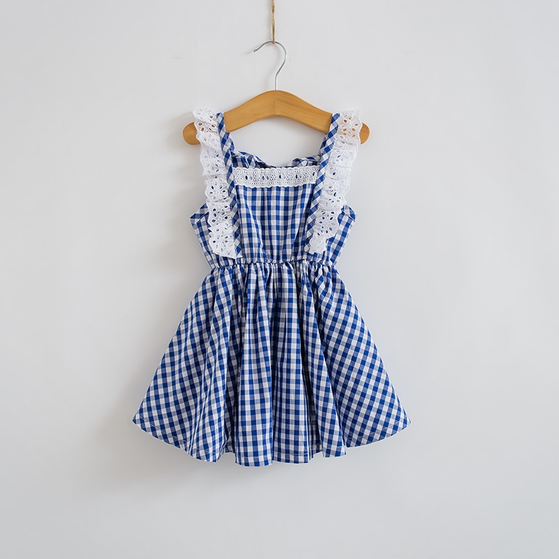 2020 Summer New Korean Children Clothing Girls Lace Fly Sleeve Gingham Dress Sweet Baby Fashion Kids Clothes