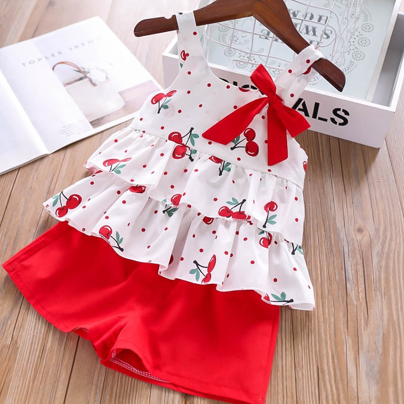 Sodawn 2020 New Summer Girls Clothing Set Fashion Printing Sundress Pearl Bow Dress+Shorts+Hat Suit 3PCS Baby Girls Clothes