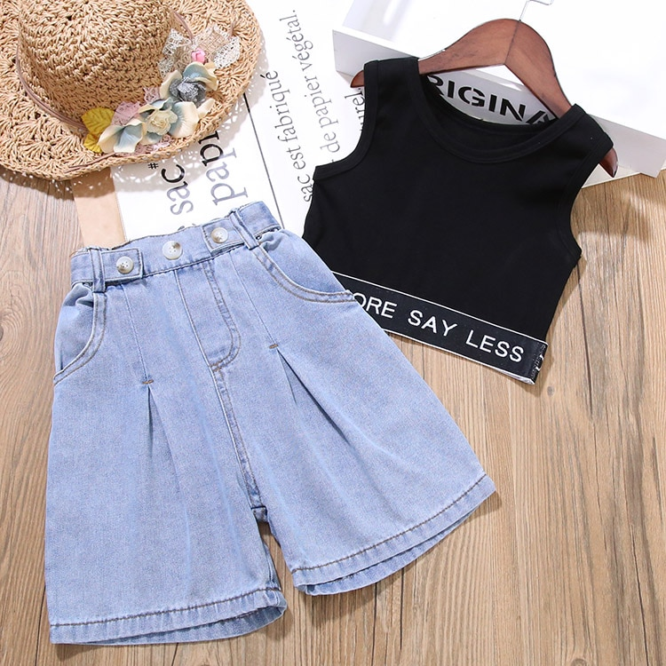Kids Clothes 2020 Summer Baby Girls Clothes For Girls Set Vest+Denim Pants Tracksuit Suit Toddler Girls Outfits Children Clothes