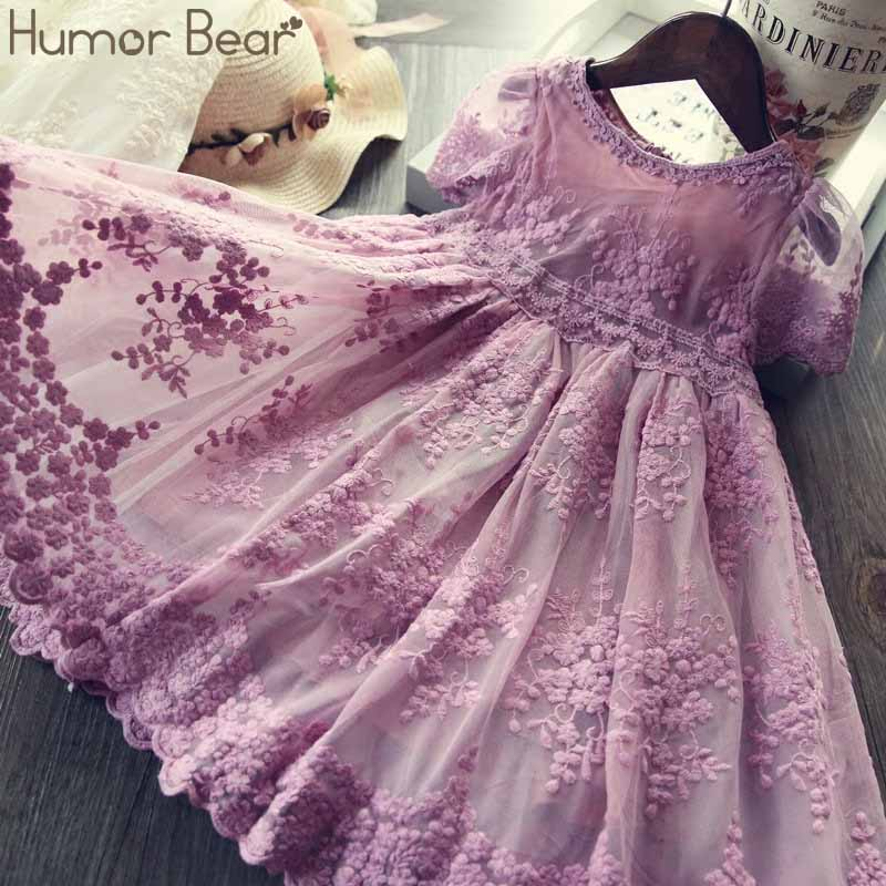 Humor Bear 2020 Summer Girls Dress Children Dresses For Girls Mesh Lace Embroidery Princess Baby Kids Clothes Baby Girls Dress