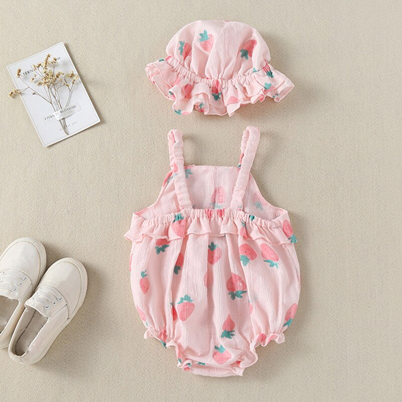 Humor Bear 2020 Summer Baby Clothes Brand New Fashion Cute Dot Big Bow Sling Jumpsuit +Hat Toddler Girls Rompers Clothing