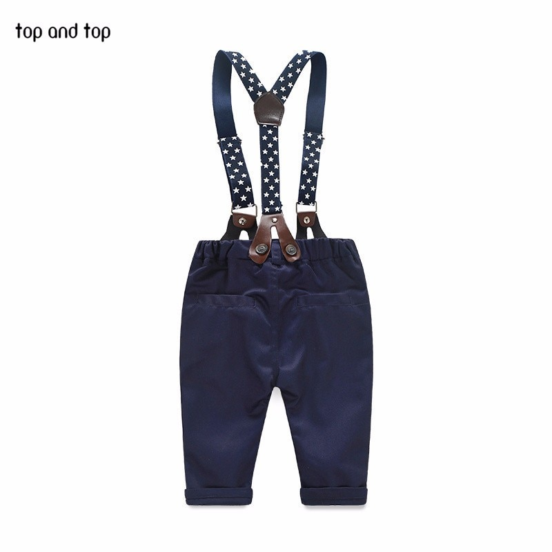 2017 fashion kids clothes grid shirt + suspender newborn Long sleeve baby boy clothes Bowknot gentleman suit free shipping