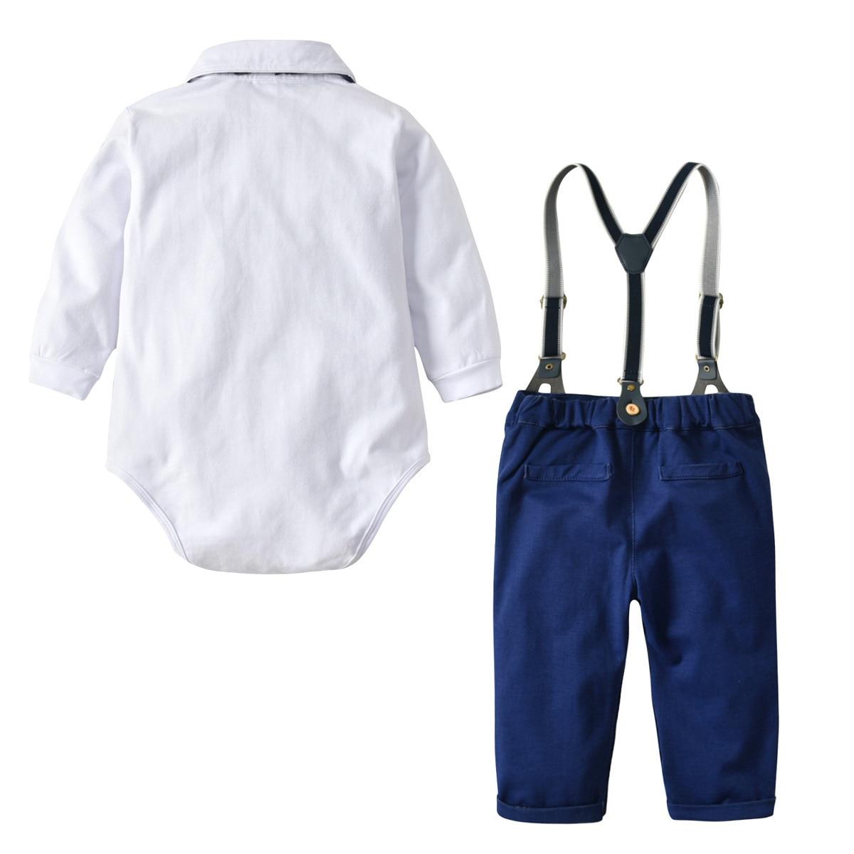 Boy Baby Clothes Set Autumn Newborn Glentmen Bodysuit with Straps Trousers Toddler Boys Clothing Infant Boys Party Clothes Suit