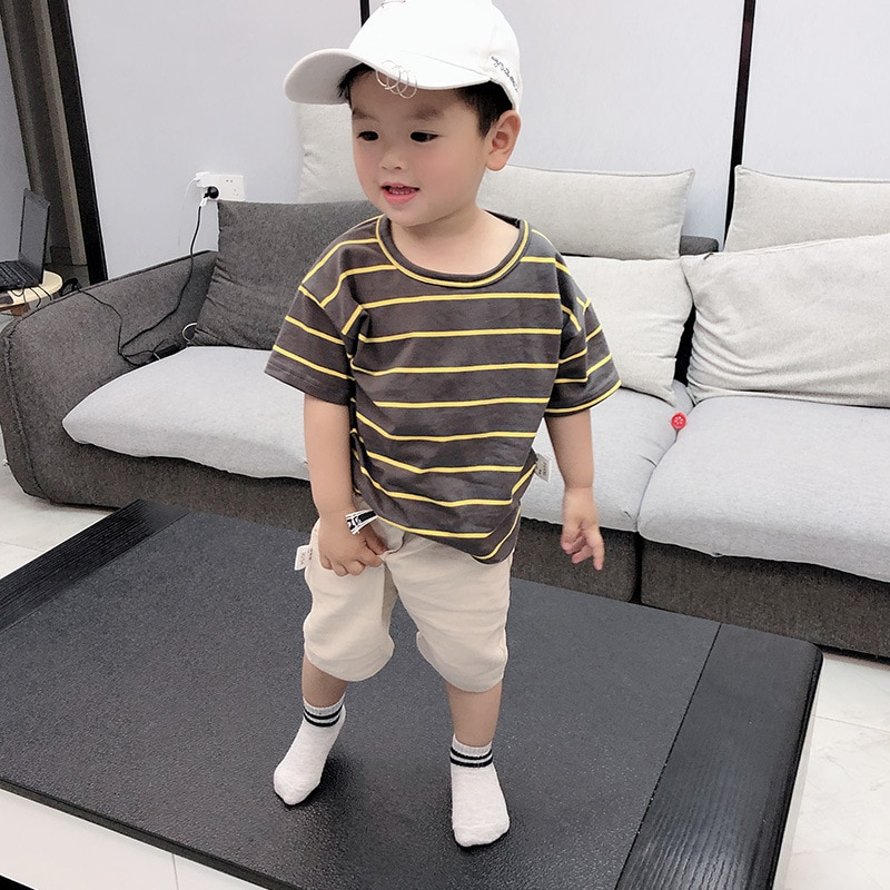 Cotton Baby Boy Clothes Fashion Striped Set Summer New Short Sleeve T-shirt Suits Children Clothing Boys Outfit