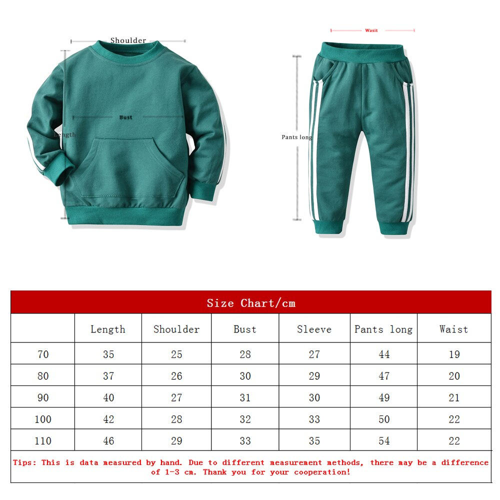Top and Top Fashion Baby kids Boys Girls Clothes Set Pullover Sweatshirt Jacket+Trousers Infant Casual 2Pcs Outfits Suit
