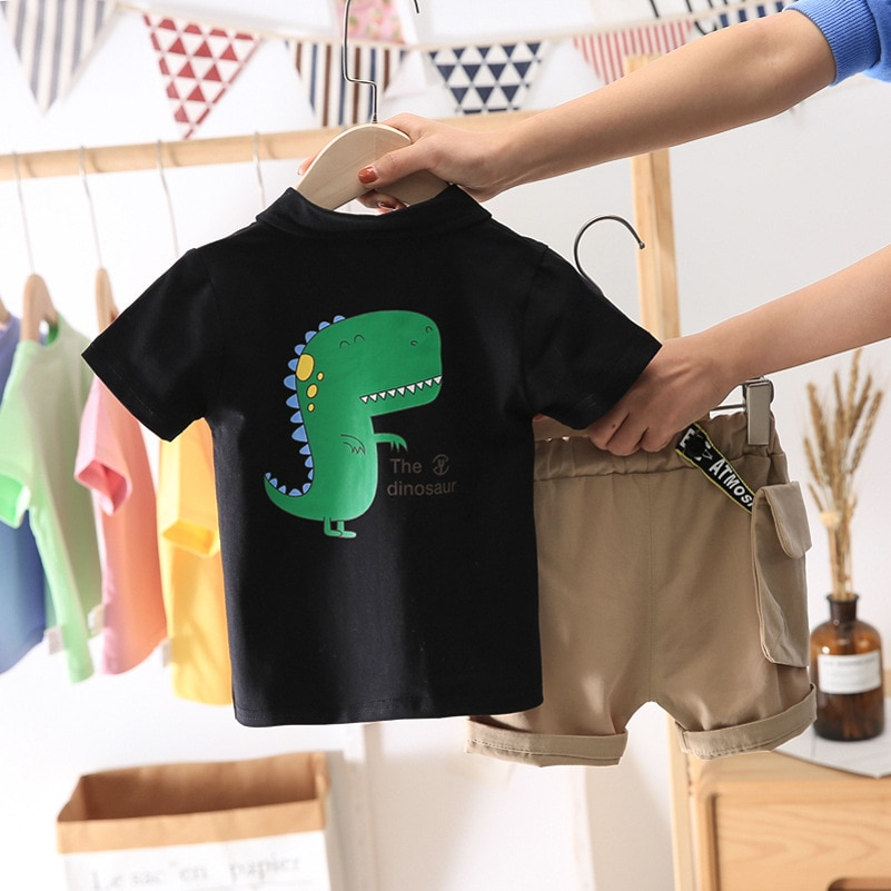 Summer Kids Sets Boys Fashion Cotton Sets Toddler Boy Clothes Dinosaur Printed PoLo Tops + Shorts Two-piece Children's Sets