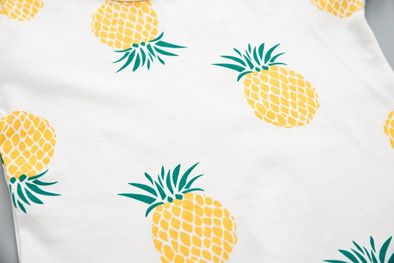 Printed Pineapple Baby Boys Girls Summer Clothes Fashion Cotton Infant Sports Suit for A Boy T-Shirt + Shorts Children Clothing