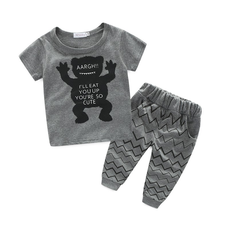 cute bear and baby boy clothes moster printed shirt+pants baby boy vestidos